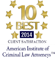 10 Best Client satisfaction, 2014, American Institute of Criminal Law Attorneys